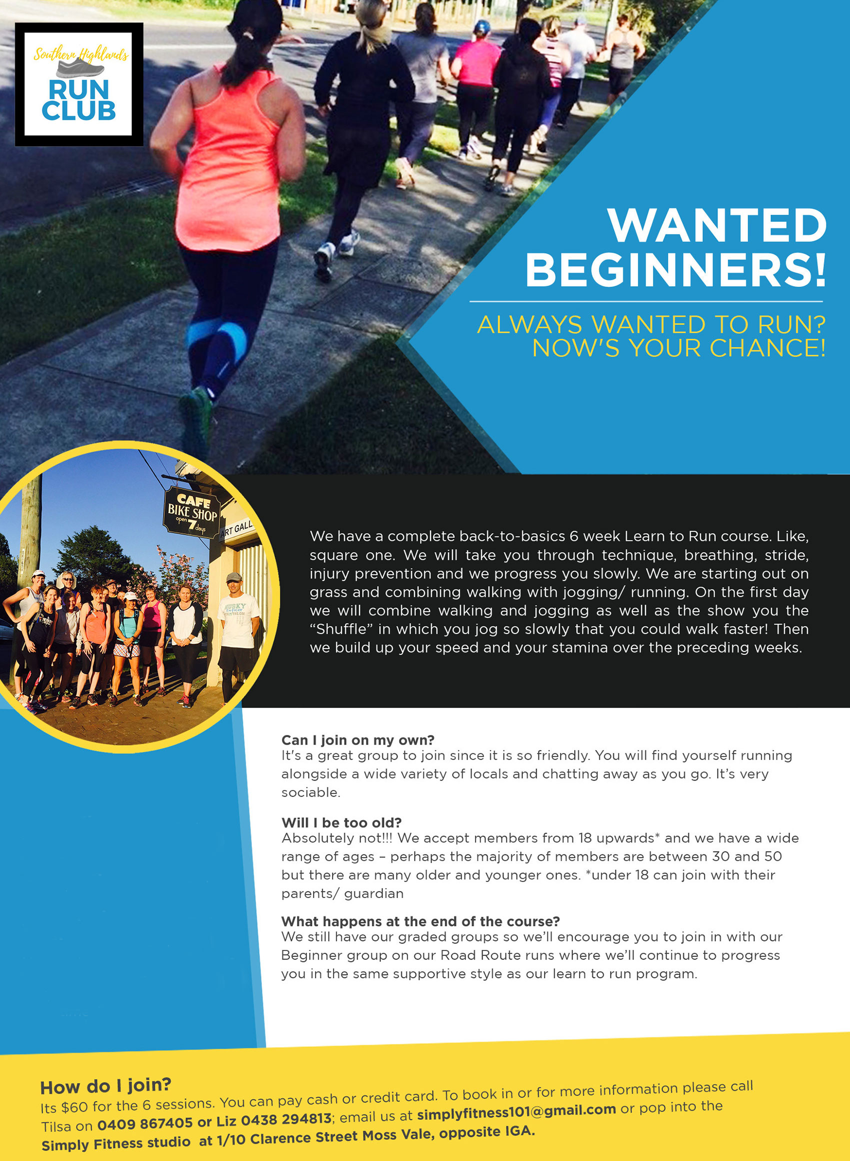Learn to Run Course, Simply Fitness, Southern Highlands