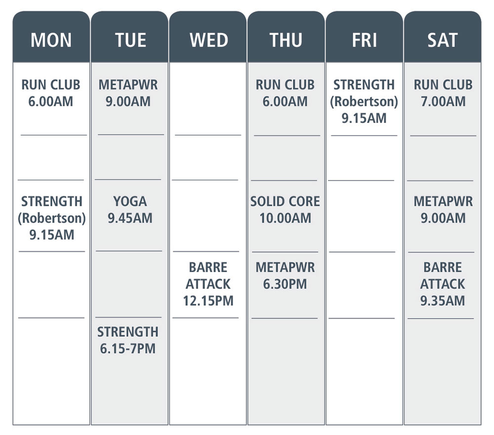 Simply Fitness, Holiday Class Timetable